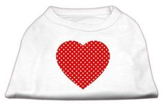 Mirage Pet Products Red Swiss Dot Heart Screen Print Shirt, X-Small, White