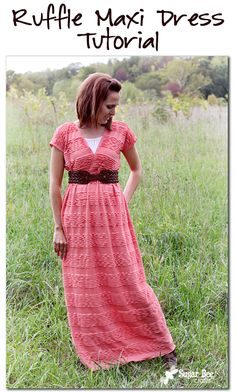 easy way to make your own Ruffled Maxi Dress Tutorial ~ Sugar Bee Crafts