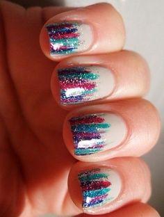 glitter rainbow mani