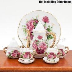 1:6 Dollhouse Porcelain Rose Tea Cup Set Miniature Beauty Flower Ceramic Decor