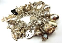 Vintage Silver 20 Charm Bracelet Weighs Over 1 1/4 lbs Yes Over 1 1/4lbs