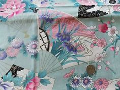 WtW Estate Fabric Asian Floral Fans Garden Metallic Oriental Flower ++++ Quilt