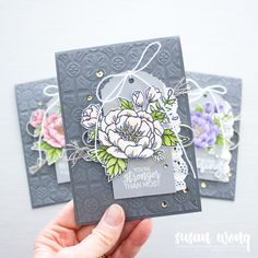 Birthday Blooms + Tin Tile Embossing Folder by Stampin' Up! - DIY floral card by Susan Wong - set of three Card Making Inspiration, Making Ideas, Wink Of Stella, Ppr, Stamping Up, Flower Cards, Homemade Cards, Stampin Up Cards, Cardmaking