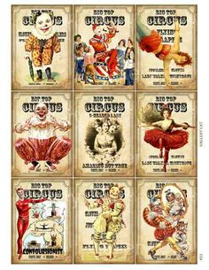 Vintage circus printables. Would make great posters for a circus party.