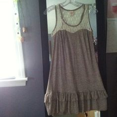 Mossimo mocha dress Knee length dress purchased from target! Lace top with sweetheart neckline outline. Size small Mossimo Supply Co Dresses
