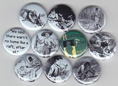 HUCKLEBERRY FINN Classic Literature 10 Pinback 1 by Yesware