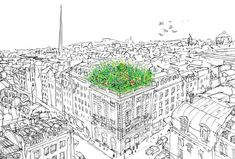 Drawing of #UrbanFarm, Dublin in development. This is how roofs will look like, if Urban Greening is the standard way to survive future city life.