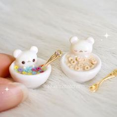 🥛 Hi guys!💘 These are actually inspired by cereal milk slime, which I've been trying SO MANY TIMES to buy, but… Fimo Kawaii, Polymer Clay Kawaii, Polymer Clay Charms, Polymer Clay Miniatures, Polymer Clay Creations, Miniature Crafts, Miniature Food, Crea Fimo, Mini Craft
