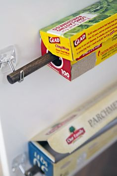 These removable adhesive hooks have so many uses around the house and especially the kitchen for organizing and storage, it's hard to remember what we did without them!