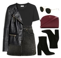"""Denim Skirt"" by vany-alvarado ❤ liked on Polyvore featuring Yves Saint Laurent, H&M, Gianvito Rossi, A.P.C. and Ray-Ban"