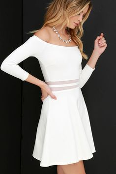 Yes to the Mesh Ivory Skater Dress at Lulus.com!