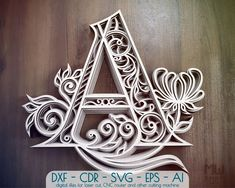 Layered Letter A, Alphabet letter A pattern, Letter A SVG Quilling Letters, Paper Quilling, Paper Cutting, Lotus Flower Mandala, Cnc Router Machine, Paper Cut Design, Floral Letters, Floral Font, Thing 1