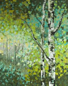 "Little Seeds"" Original Acrylic Aspen / Birch Tree Acrylic Painting ..."