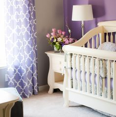 Bright Girl Nursery with Bold Purple accent tone. Nerva Collection in Bianco Satinato all tastefully designed for a little princess. Purple nursery never looks so purposely awesome ❤