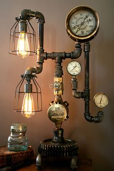 Lamp made with pipes, gauges, and industrial lights;upcycle, recycle, salvage, diy, repurpose! For ideas and goods shop at Estate ReSale & ReDesign, Bonita Springs, FL