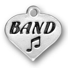 Sterling Silver Engraved Marching Band heart, Marching Band Jewelry, Marching Band Charms
