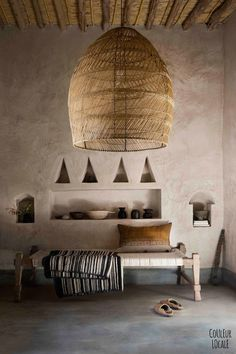 beautiful Moroccan home decorated by Couleur Locale - hand woven pendant lamp shade, hand made furnishings, hand finished Tadelakt (traditional plaster walls) Moroccan Interiors, Moroccan Decor, Rustic Interiors, Moroccan Style, Home Interior, Interior Architecture, Interior And Exterior, Interior Decorating, Natural Interior