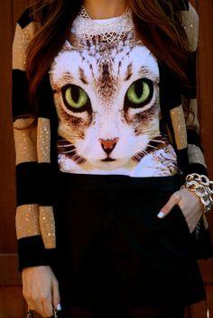 Cat Shirt & Stripes