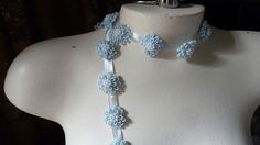 11 Beaded Applique Flowers in Something Blue for Bridal Design, Garters, Headbands, Shoe Clips TR 5