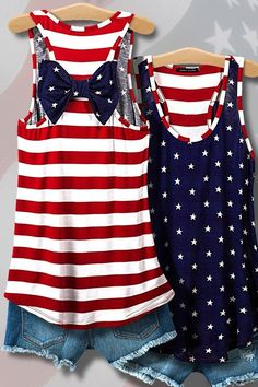 American flag print bow back detail tank top. Dual colors, red on one side and blue on the other. SHIPS MID MAY 2016.