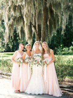 CHARLESTON WEDDINGS - Pink Magnolia Plantation & Garden Wedding from JoPhoto and MOD Events  - blush Bill Levkoff Bridesmaids Dresses