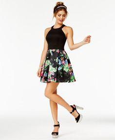 Teeze Me Juniors' Halter Fit & Flare Dress