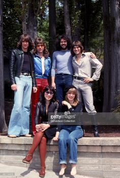 Musicians Ann Wilson, Nancy Wilson, Roger Baysinger, Steve Fossen, Michael DeRosier and Howard Leese of the rock and roll band 'Heart' pose for a portrait session in May 1977.