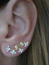 Ear Sweep Wrap-Cuff Earring with Swarovsky Gold filled