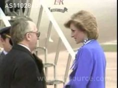 """Princess Diana in Oslo, Norway: Diana in Oslo for a one-day private solo visit,  greeted at airport by Crown Prince Harold and Princess Sonja: later she attends world premier of """"Carmen"""" by London City Ballet. 11.2.84"""