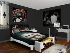 Our Gambling Showcase Bedroom decor design features all the fun hallmarks of a great casino without any of costs. From Cards to Chips to a Roulette Wheel this unique gambling decor has it all. See more at www.visionbedding.com/Gambling-Showcase_Bedroom-rm-11748
