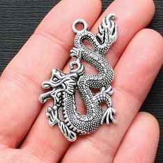 2 Dragon Charms Antique Tibetan Silver Tone by BohemianFindings, $2.50