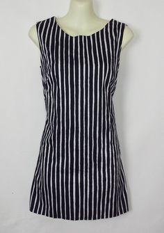 Marimekko Vintage Black White Striped Mini Shift 60s Mika Piirainen Dress