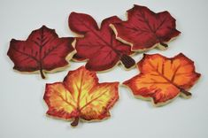 Leaves - Autumn Cookies - Decorated Iced Sugar Cookies - One Dozen - Fall - Forest