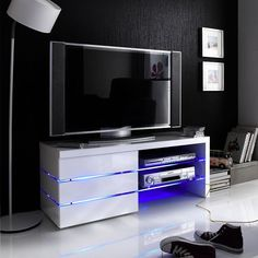 Sonia White High Gloss Tv Stand With Led Lights And Glass Shelves SONIA Media TV Element - Stunning design fit for any living room, Made from high quality honeycomb board and MDF with a high gloss . Glass Shelves In Bathroom, Floating Glass Shelves, Diy Tv Wall Mount, Wall Mounted Tv, Tv Stand With Led Lights, Hifi Regal, High Gloss Tv Unit, Lcd Tv Stand, Ikea Units
