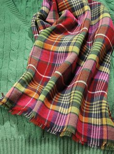 tartan scarf, gorgeous with the emerald green cable-knit sweater.