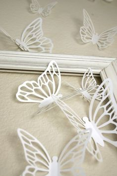 Butterfly 3D art! Bursting out of a frame in a girl's room :)