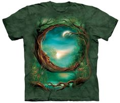 Mountain Tee Shirt with Moon Tree design by John Shannon. This heavyweight 100% Cotton T-Shirt will last you for years and features an over-sized relaxed fit, with reinforced double-stitching on all s