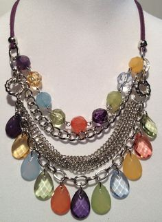 """Danity bib style but a statement necklace and earrings set. Shades of pastels. 18 inch in length with 3"""" extender by RockinRobinsBling, $20.00"""