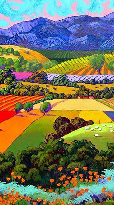 Art by Gene Brown landscape painting, Fertile Fields Colorful Art, Art Painting, Landscape Paintings, Southwest Art, Naive Art, Colorful Landscape, Art, Pictures, Landscape Art