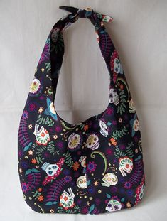 Sugar Skulls Fabric Handbag Day of the by KarensCrochetCottage