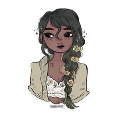 v i r g o ♍️ with little yellow buttercup flowers • • • #illustration #instaart #horoscope #girl #floweraesthetics