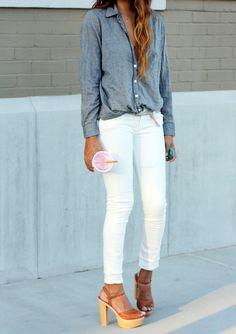 White pants and denim shirt