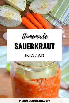 All you need to know about how to make a good jar of homemade sauerkraut. This complete guide will show you the step-by-step process for fermenting and enjoying your favorite probiotic sauerkraut. Get a printable recipe! #sauerkrautrecipe Homemade Sauerkraut, Sauerkraut Recipes, Printable Recipe, Cabbage, Jar, How To Make, Cabbages, Brussels Sprouts, Jars