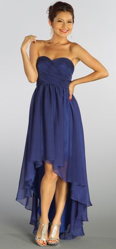 Royal Blue Sweetheart Neckline High-Low Strapless Dress