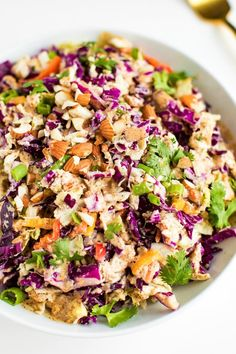 Crunchy Asian Chopped Salad with Creamy Almond Dressing - Eating Bird Food