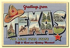 This postcard is part of a series that depicts the states of the United States of America. Each postcard uses a bold font that showcases scenery unique to that state. This example depicts Texas with the typical cowboy hat and some scenery. It is a vintage style postcard which also adds to the conveyance of pride of the States.