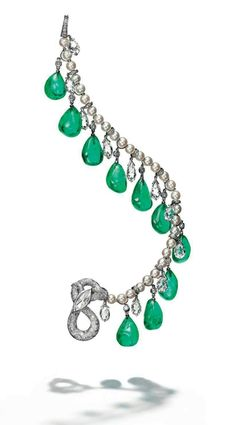 Collection of H.S.H. Gabriela Princess zu Leiningen. A suite of Colombian emerald, diamond and pearl jewellery, by Cartier