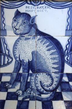 ¤ Dutch tiles panel, half C. featuring a nice blue cat Delft Tiles, Mosaic Tiles, Ceramic Decor, Ceramic Art, Le Grand Bleu, Tile Art, Tile Murals, Tile Panels, Antique Tiles