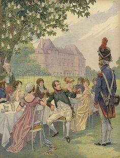 Napoleon Bonaparte and Josephine at a garden party in the grounds of the Chateau de Malmaison, France. Published in Bonaparte, by Georges Montorgueil and illustrated by Job (pseudonym of Jacques Marie Gaston Onfroy de Breville), by Boivin & Cie (publisher), Paris, 1908.