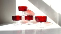 Vintage Ruby Red Dessert / Sherbet / Compote Glass Dishes - Cavalier by Luminarc  - Made in France Set of Four Modernist Red Glass